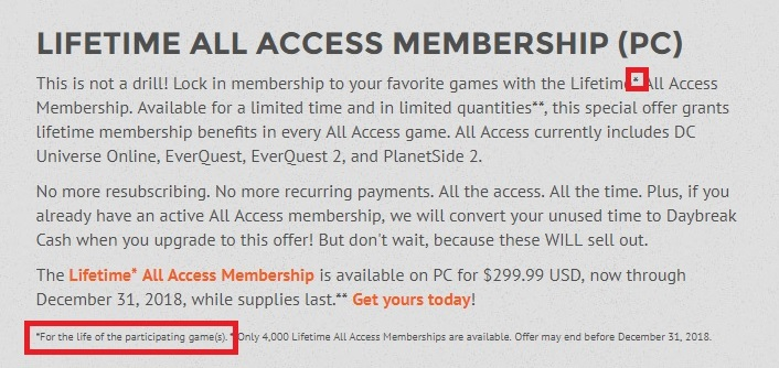 Daybreak Offers $300 Lifetime All-Access Pass, As Well As